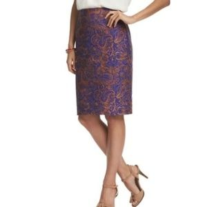 LOFT Blue & Brown Floral Paisley Pencil Skirt 12P